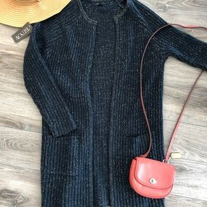 Long Navy Blue and Gold Cardigan